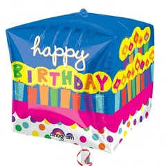 Balon Folie Cubez Happy Birthday - 38x40cm, Amscan 28379