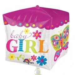 Balon Folie Cubez Baby Girl, 38 x 40 cm, Amscan 28382, 1 buc