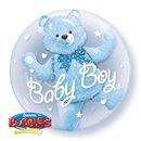 "Balon Double Bubble 24""/61cm Qualatex, Baby Blue Bear, 29486"