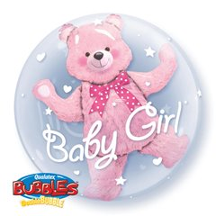 "Balon Double Bubble 24""/61cm Qualatex, Baby Pink Bear, 29488"