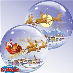 "Balon Bubble 22""/56cm Qualatex, Mos Craciun, 26979"