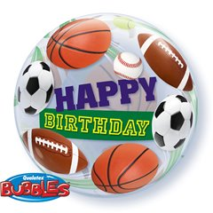 "Balon Bubble 22""/56cm Qualatex, Birthday Sport Balls, 34821"