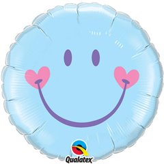 Balon Folie 45 cm Smiley Face Pale Blue, Qualatex 99576