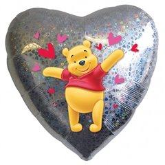 Balon Folie 45 cm Inima cu Winnie the Pooh, Amscan 14783