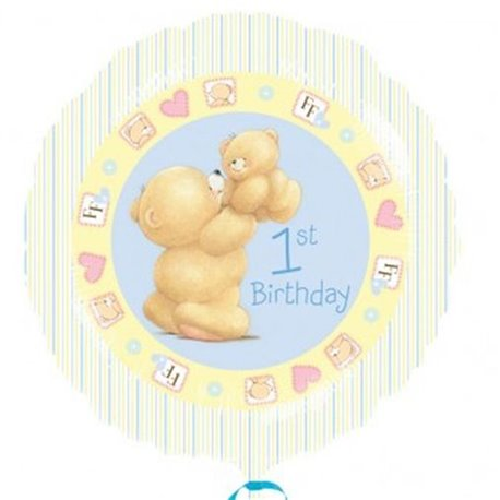 Balon Folie 45 cm 1st Birthday Bleu Amscan, 21496