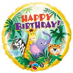 "Balon Folie 45 cm Animalute ""Happy Birthday"", Qualatex 31014"