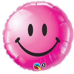 Balon Folie 45 cm Smiley Face Fuchsia, Qualatex 29864