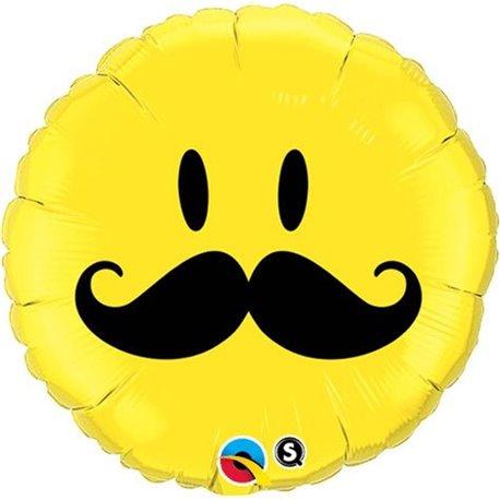 Balon Folie 45 cm Smiley Face Mustache, Qualatex 60053