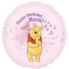 "Balon Folie 45 cm Winnie the Pooh ""Happy Birthday Mum"" 24164"