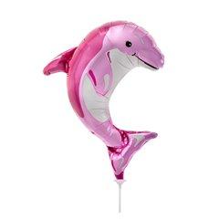 Balon Mini Figurina Delfin Roz + bat si rozeta, Northstar Balloons 00600