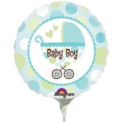 Balon Mini Folie Baby Boy Carucior, Amscan, 23 cm, 22126