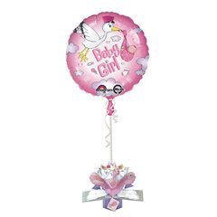 Balon Folie 45 cm Baby Girl cu Decor 3D, Amscan 27187