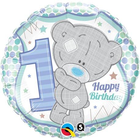 Balon Folie 45 cm 1st Birthday Teddy Bear Boy, Qualatex 20788