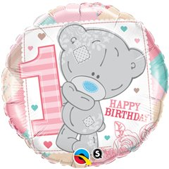 Balon Folie 45 cm 1st Birthday Teddy Bear Girl, Qualatex 20776