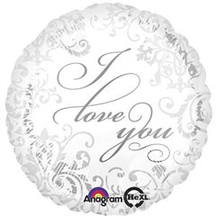 Balon Folie 45 cm Argintie I Love You, Amscan 21976