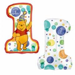 Balon Folie Figurina Winnie the Pooh 1st Birthday, 71 x 53 cm, Amscan 1406501, 1 buc