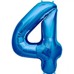 "Balon Folie Mare Cifra 4 Albastru - 34""/86cm, Amscan 28282"