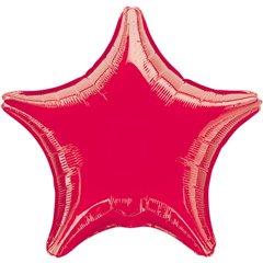 Balon folie rosu metalizat cu forma de stea - 48 cm, Amscan 3058402, 1 buc