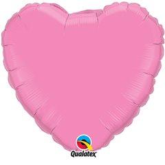 Balon folie rose metalizat in forma de inima - 45 cm, Qualatex 12891, 1 buc