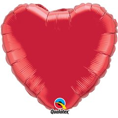 Balon folie Ruby Red metalizat in forma de inima - 45 cm, Qualatex 23769, 1 buc