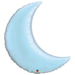 Balon folie Pearl Light Blue metalizat cu forma de semiluna - 89 cm, Qualatex 74622, 1 buc