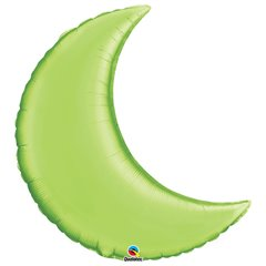 Balon folie Lime Green metalizat cu forma de semiluna - 89 cm, Qualatex 75159, 1 buc