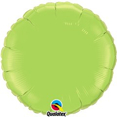 Balon folie Lime Green metalizat rotund - 45 cm, Qualatex 73310, 1 buc