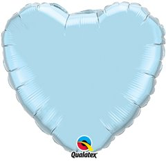 Balon folie Pearl Light Blue in forma de inima - 45 cm, Qualatex 99346, 1 buc