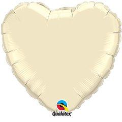Balon folie Pearl Ivory metalizat in forma de inima - 45 cm, Qualatex 99347, 1 buc
