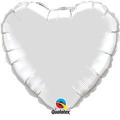 Balon folie Argintiu metalizat in forma de inima - 91 cm, Qualatex 12659, 1 buc