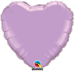 Balon folie Pearl Lavender metalizat in forma de inima - 91 cm, Qualatex 74628, 1 buc