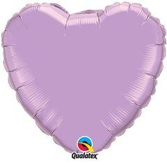 Balon folie Pearl Lavender metalizat in forma de inima - 91 cm, Qualatex 74628, 1 buc