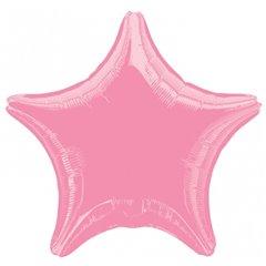Balon folie roz metalizat cu forma de stea - 48 cm, Amscan 21633-40, 1 buc