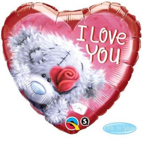Balon Folie 45 cm Inima Teddy Bear I love You, Qualatex 20811