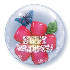 "Balon Double Bubble 24""/61cm Qualatex, Birthday Flower, 68805"