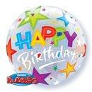 "Balon Bubble 22""/56cm Qualatex, Birthday Brilliant Stars, 23595"