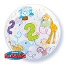 "Balon Bubble 22""/56cm Qualatex, Jungle Animals pentru aniversare 2 ani, 36369"