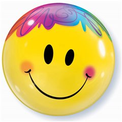"Balon Bubble 22""/56cm Qualatex, Bright Smile Face, 35173"