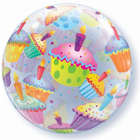 "Balon Bubble 22""/56cm Qualatex, Cupcakes, 34407"