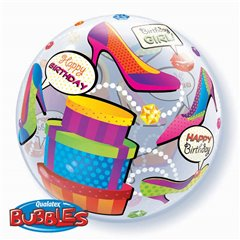 "Balon Bubble 22""/56cm Qualatex, Birthday Girl Shopping, 27563"