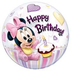 "Balon Bubble 22""/56cm Qualatex, Minnie Mouse 1st Birthday, 12862"