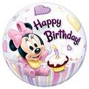 "Balon Bubble 22""/56cm Qualatex, Minnie Mouse 1st Birthday, 12862"