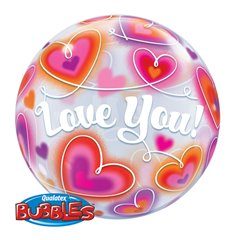 "Balon Bubble 22""/56cm Qualatex, Love You cu Inimioare, 34072"