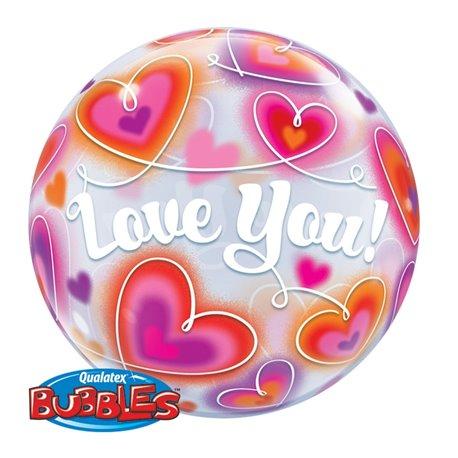 "Balon Bubble 22""/56cm Qualatex, Love You cu Inimioare, 34072"
