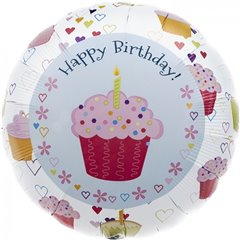 Balon Folie 45 cm Cupcake Hearts Birthday, Northstar Balloons 00351