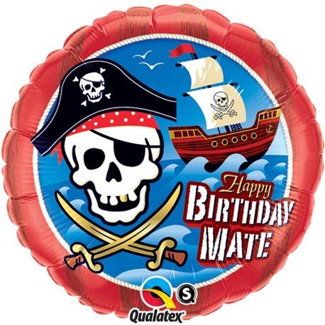 "Balon Folie 45 cm ""Happy Birthday Mate"" cu Pirati, Qualatex 11767"