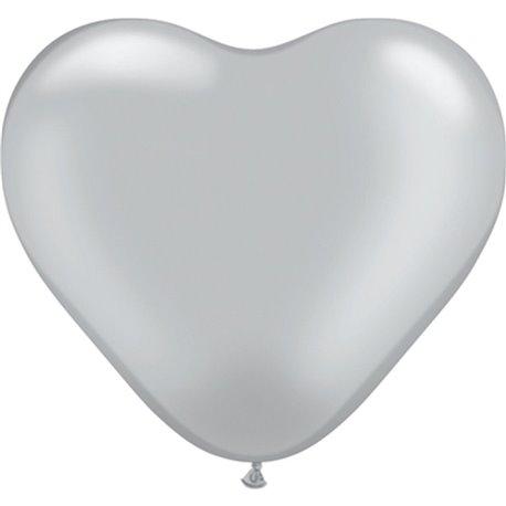 "Baloane latex in forma de inima, Silver, 6"", Qualatex 17727, Set 100 buc"