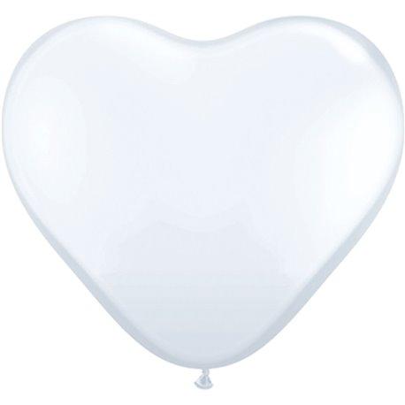 Baloane latex Jumbo Inima 3' White, Qualatex 44481, set 2 buc