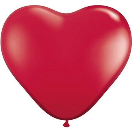 Baloane latex Jumbo Inima 3' Ruby Red, Qualatex 44487, set 2 buc