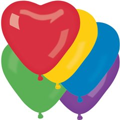 Baloane latex in forma de inima, Diametru 25 cm, Asortate, Gemar CR.ASS, set 100 buc